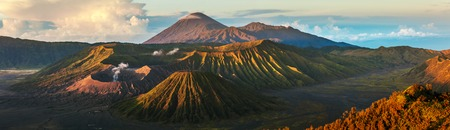 volcano: Panorama of the group of volcanoes in the National Park of Java island, Indonesia. Bromo (smoking), Batok, Semeru volcanoes
