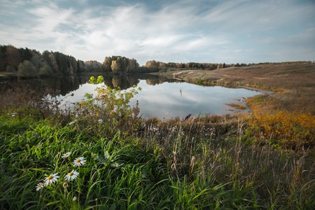 foreground focus: Autumn calm lake with green grass on the foreground. Focus on the grass Stock Photo