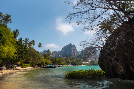 phra nang: Andaman sea and limestone mountains. Thailand