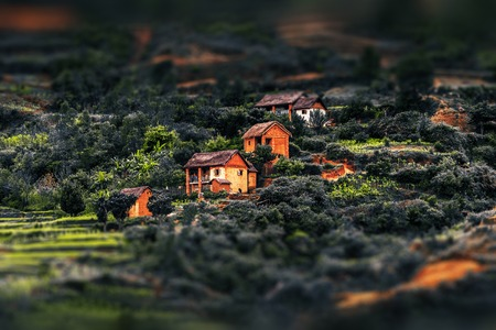 red soil: Houses on the hill with green gardens and red soil. Madagascar
