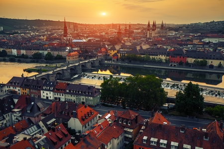 city of sunrise: Sunrise over the city of Wurzburg, Germany
