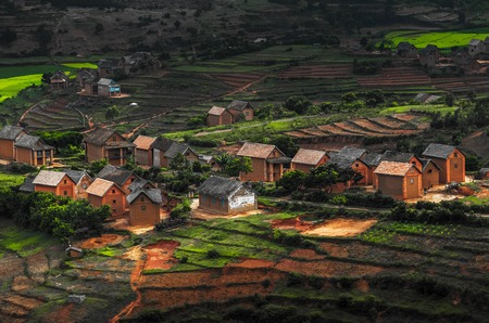 red soil: Small village on the hill with green gardens and red soil. Madagascar