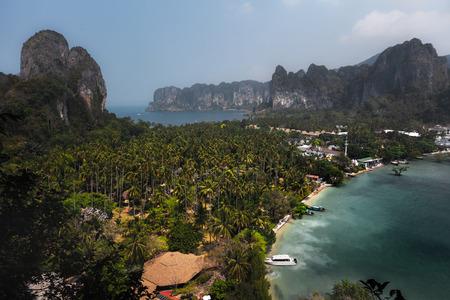 phra nang: Andaman sea and limestone mountains. Thailand
