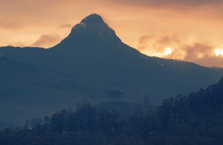adams: Mountain of Adams Peak (2243m, 7359ft) at sunset. Sri Lanka Stock Photo