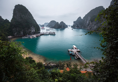 long bay: Limestone mountains in Ha Long bay, Vietnam Stock Photo