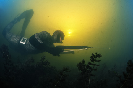 speargun: Underwater shot of the hunter with speargun in a lake with dirty water Stock Photo