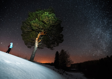 snow forest: Woman skiing at night in a winter forest and looking to a big tree and starry sky