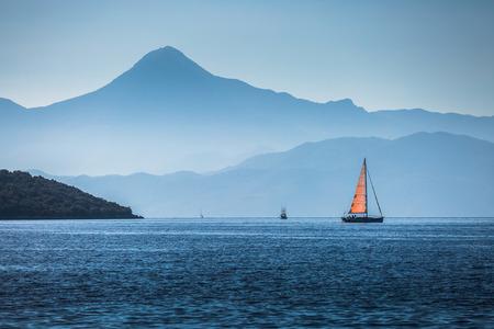 sailing boats: Sailing boats in a calm bay. Aegean Sea, Turkey