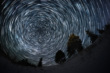 Star trails on a winter sky in the forest Stok Fotoğraf - 53540240