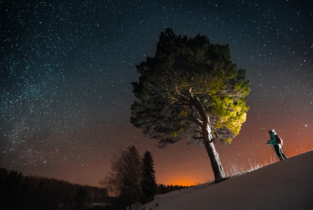 mochila de viaje: Esquí de la mujer en la noche en un bosque de invierno y mirando a un gran árbol y el cielo estrellado
