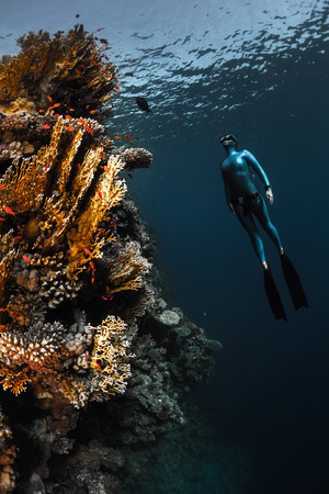 bottomless: Lady free diver ascending along the vivid coral reef wall in the tropical sea Stock Photo