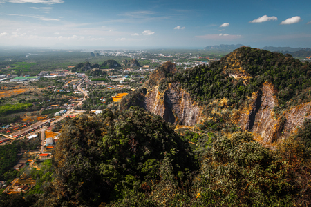 towns: Aerial view of the valley with limestone mountains. Krabi provice of Thailand Stock Photo
