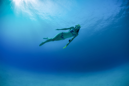 skin diving: Underwater shot of the young lady skin diving in the clear tropical sea