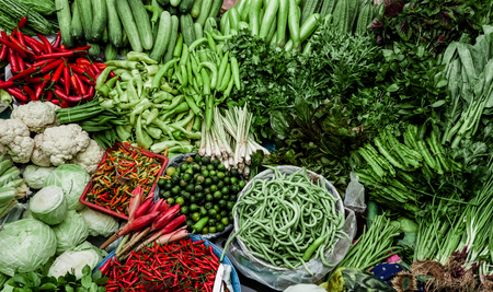 quantities: Large quantities of vegetables in the market