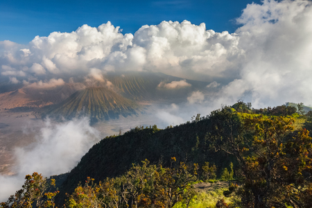 valley view: View on the valley with active volcanoes. Java island, Indonesia