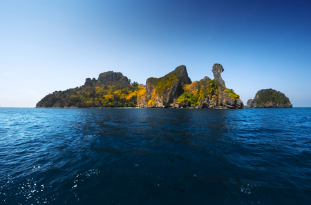 islands: Island in the tropical sea named Chicken, Krabi province of Thailand Stock Photo