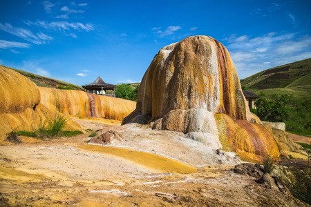 Colorfull soil of Analavory geysers. Madagascar