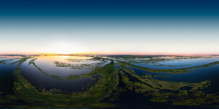 Aerial seamless 360 degree panorama of the river valley with lots of islets. River of Kama, Russia