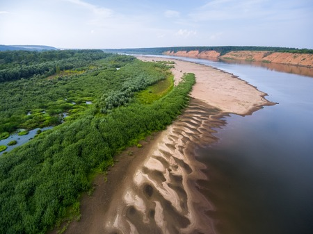 Aerial shot of the coastline of the river of Vyatka, Russia Stock Photo