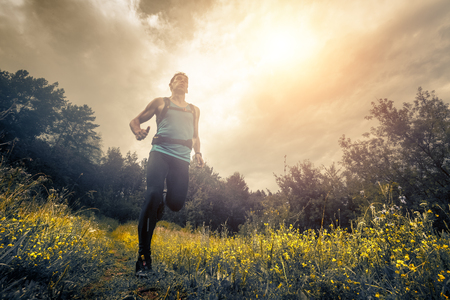 Trail running athlete moving through the meadow Imagens
