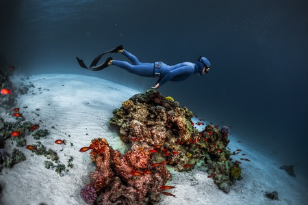 Lady freediver gliding underwater over vivid coral reef Stock Photo