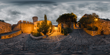 Spherical, 360 degrees, seamless panorama of the narrow streets in the town of Tossa de Mar at sunrise. Spain
