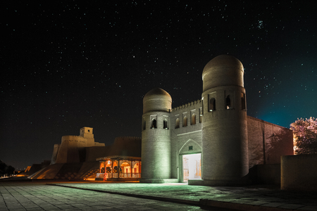 ata: Western gate (Ata Darvoza) to ancient town of Itchan Kala at night with stars. Khiva, Uzbekistan