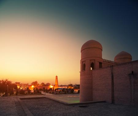 stars night: Oriental buildings of old city of Itchan Kala. Khiva, Uzbekistan