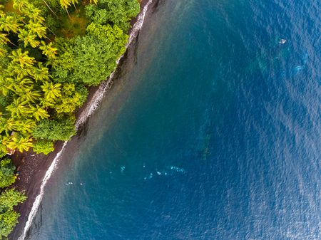 beach view: Aerial shot of USAT Liberty wreck Tulamben, Bali island, Indonesia Stock Photo