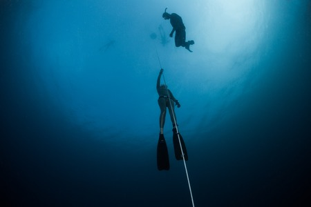 無料のダイバーが深さのロープに沿って昇順