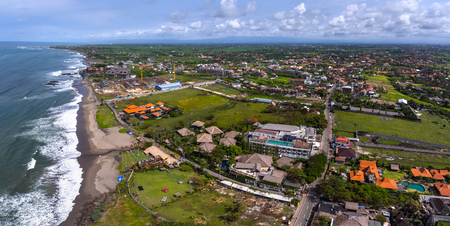 echo: Aerial panorama of the western balinese coast near the village of Canggu. Echo beach visible on the left. Indonesia