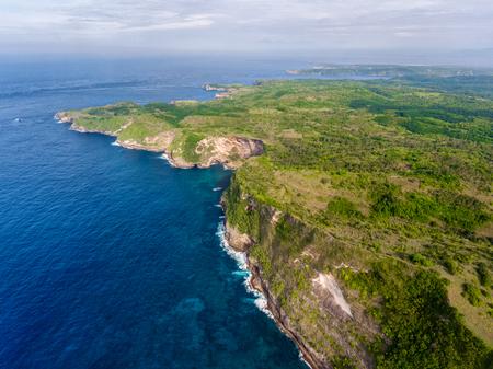 Aerial shot of the island of Nusa Penida, Indonesia Stock Photo