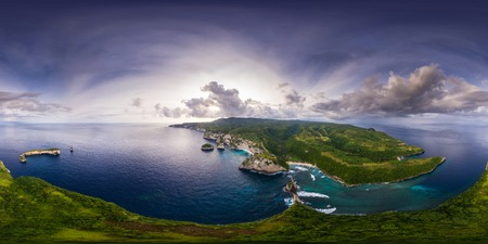 Spherical, 360 degrees, seamless, aerial panorama of the coastline of the island of Nusa Penida, Bali, Indonesia