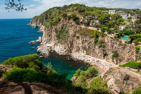 Top view of the hidden beach in the mountain, Mediterranean coast near the town of Tossa de Mar, Spain