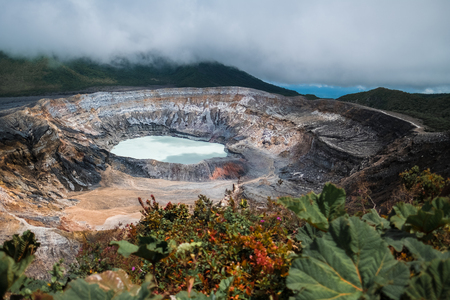 Main active crater of the volcano of Poas. Costa Rica
