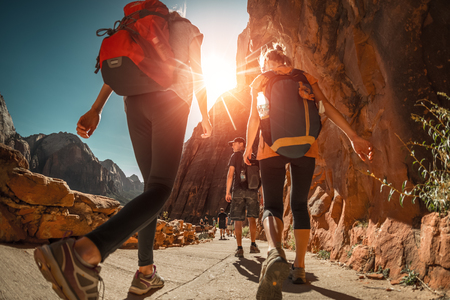 Hikers with backpacks walk on the trail in canyon of Zion National Park, USA Imagens