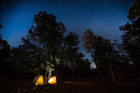 Deux tentes se rassemblant parmi les arbres dans un style de transport dans un parc avec beaucoup de étoiles dans le ciel de nuit Banque d'images - 81153627