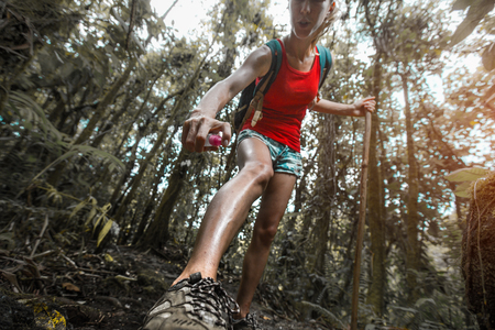 Woman hiker applying mosquito repellent on the skin in a dense tropical forest Stock Photo - 81154248