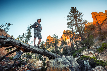 Hiker stands on the dry tree trunk of Bryce Canyon National Park, USA