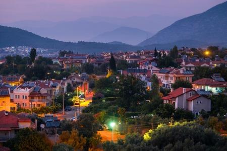 City of Oludeniz during sunset, Fethiye region of Turkey Stock Photo