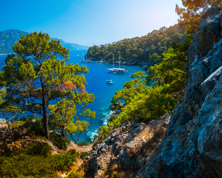 Aegean Sea coast with lush pine trees and calm lagoons with anchored boats, Fethiye, Turkey