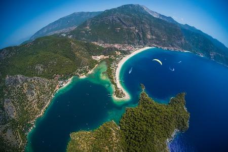 Oludeniz beach and blue lagoon aerial view, Aegean Sea, Fethiye, Turkey