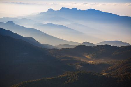 Mountains in a morning fog, Sri Lanka Stok Fotoğraf