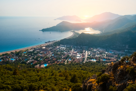 Oludeniz beach and small town of Oludeniz, view from mountain during sunset Stok Fotoğraf