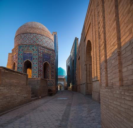Shakh の建物の古代複合体私 Zinda、ウズベキスタン 写真素材