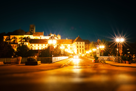 City of Fussen at twilight. Germany. Tilt shift effect applied