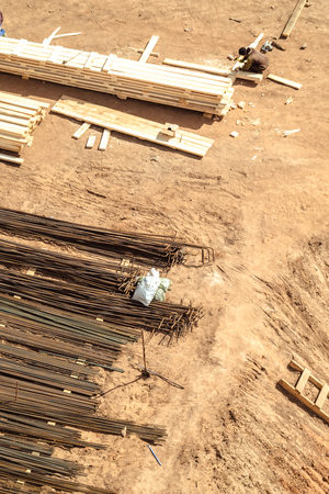 Industrial construction, wooden board and reinforcement steel bar