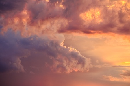 Evening sky with clouds during sunset Stock Photo