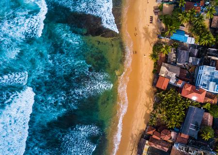 Aerial view of the Narigama beach, town of Hikkaduwa, Sri Lanka