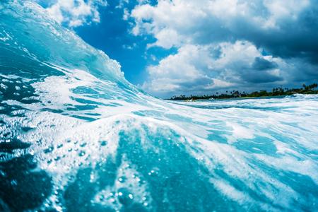 Ocean wave breaking on shore. Point break reef spot named Lazy Lefts, Midigama, Sri Lanka